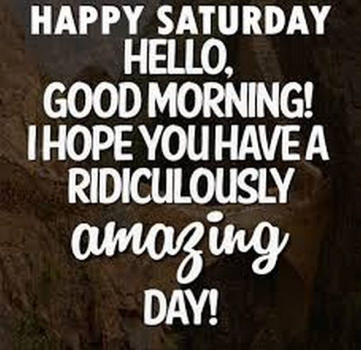 """101 Saturday Memes - """"Happy Saturday. Hello, good morning! I hope you have a ridiculously amazing day!"""""""