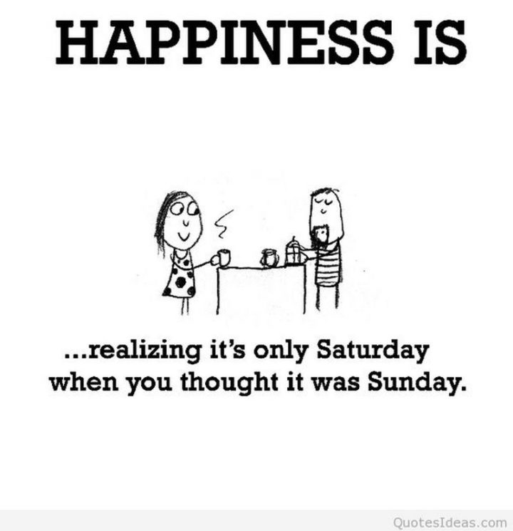 """101 Saturday Memes - """"Happiness is...realizing it's only Saturday when you thought it was Sunday."""""""