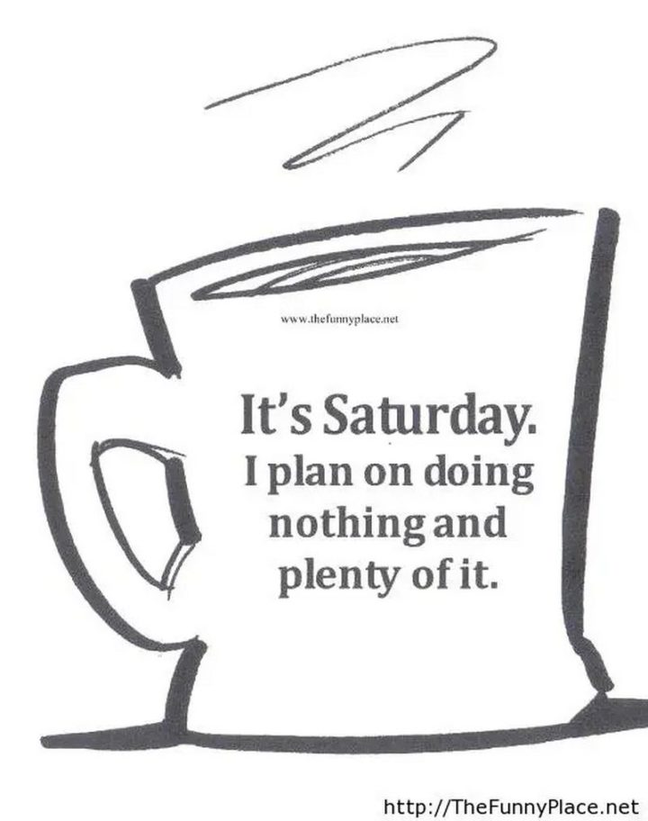 """101 Saturday Memes - """"It's Saturday. I plan on doing nothing and plenty of it."""""""