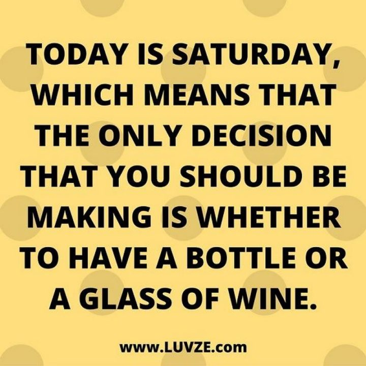 """101 Saturday Memes - """"Today is Saturday, which means that the only decision that you should be making is whether to have a bottle or a glass of wine."""""""
