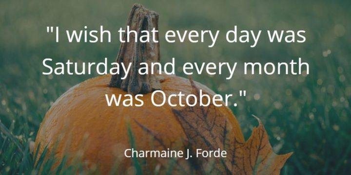 """59 Saturday Quotes - """"I wish that every day was Saturday and every month was October."""" - Charmaine J. Forde"""