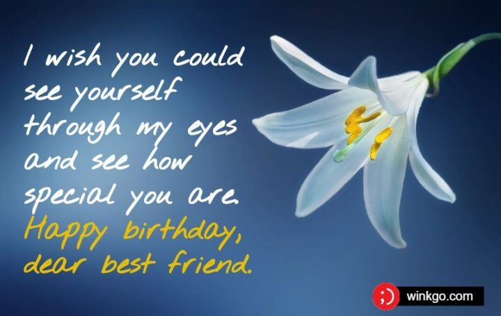 """""""I wish you could see yourself through my eyes and see how special you are. Happy birthday, dear best friend."""""""