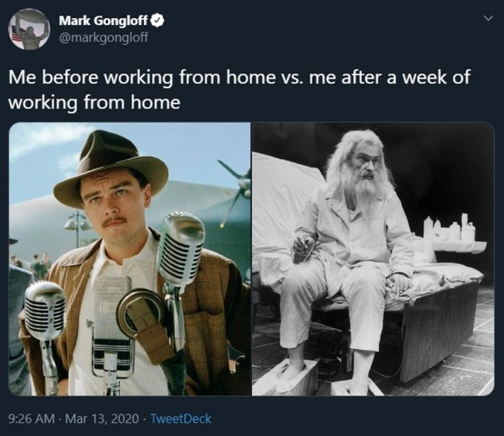 """53 Coronavirus Memes - """"Me before working from home vs. me after a week of working from home."""""""