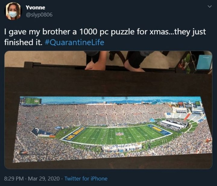 """53 Coronavirus Memes - """"I gave my brother a 1000 piece puzzle for Xmas...they just finished it. Quarantine Life."""""""