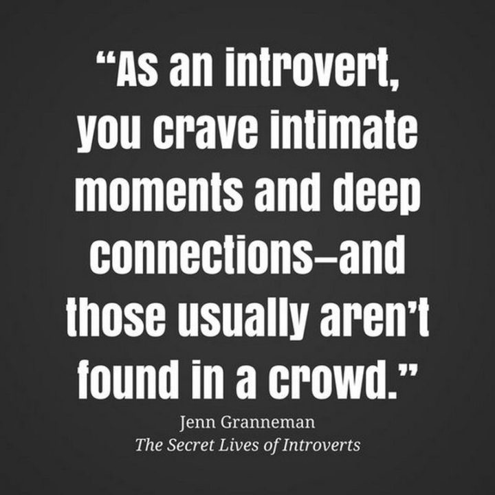 """75 Introvert Memes - """"As an introvert, you crave intimate moments and deep connections - and those usually aren't found in a crowd."""""""