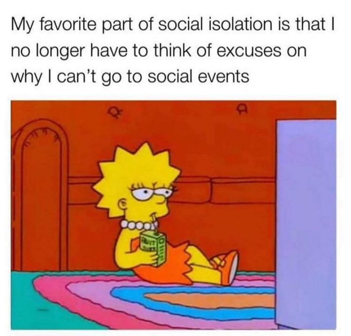 """75 Introvert Memes - """"My favorite part of social isolation is that I no longer have to think of excuses on why I can't go to social events."""""""