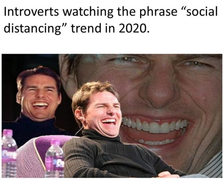 """75 Introvert Memes - """"Introverts watching the phrase 'social distancing' trend in 2020."""""""