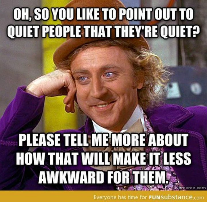 """75 Introvert Memes - """"Oh, so you like to point out to quiet people that they're quiet? Please tell me more about how that will make it less awkward for them."""""""
