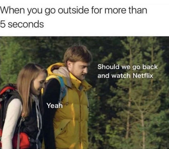 """75 Introvert Memes - """"When you go outside for more than 5 seconds: Should we go back and watch Netflix. Yeah."""""""