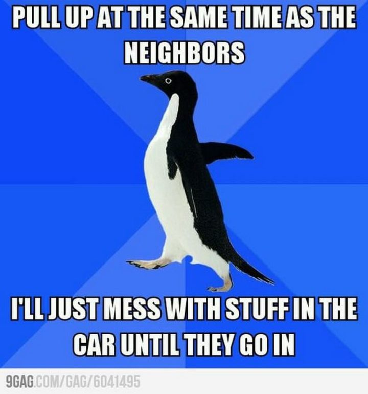 """75 Introvert Memes - """"Pull up at the same time as the neighbors. I'll just mess with stuff in the car until they go in."""""""