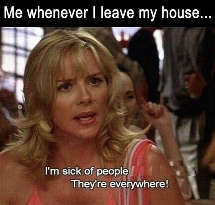 """75 Introvert Memes - """"Me whenever I leave my house...I'm sick of people. They're everywhere!"""""""