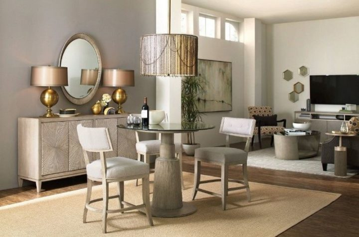 Round dining table with glass top.