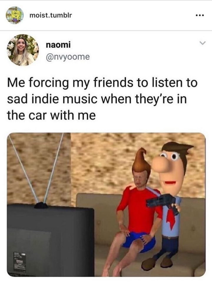 """53 Sad Memes - """"Me forcing my friends to listen to sad indie music when they're in the car with me."""""""