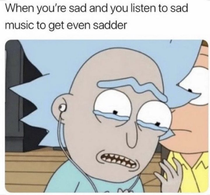 """53 Sad Memes - """"When you're sad and you listen to sad music to get even sadder."""""""