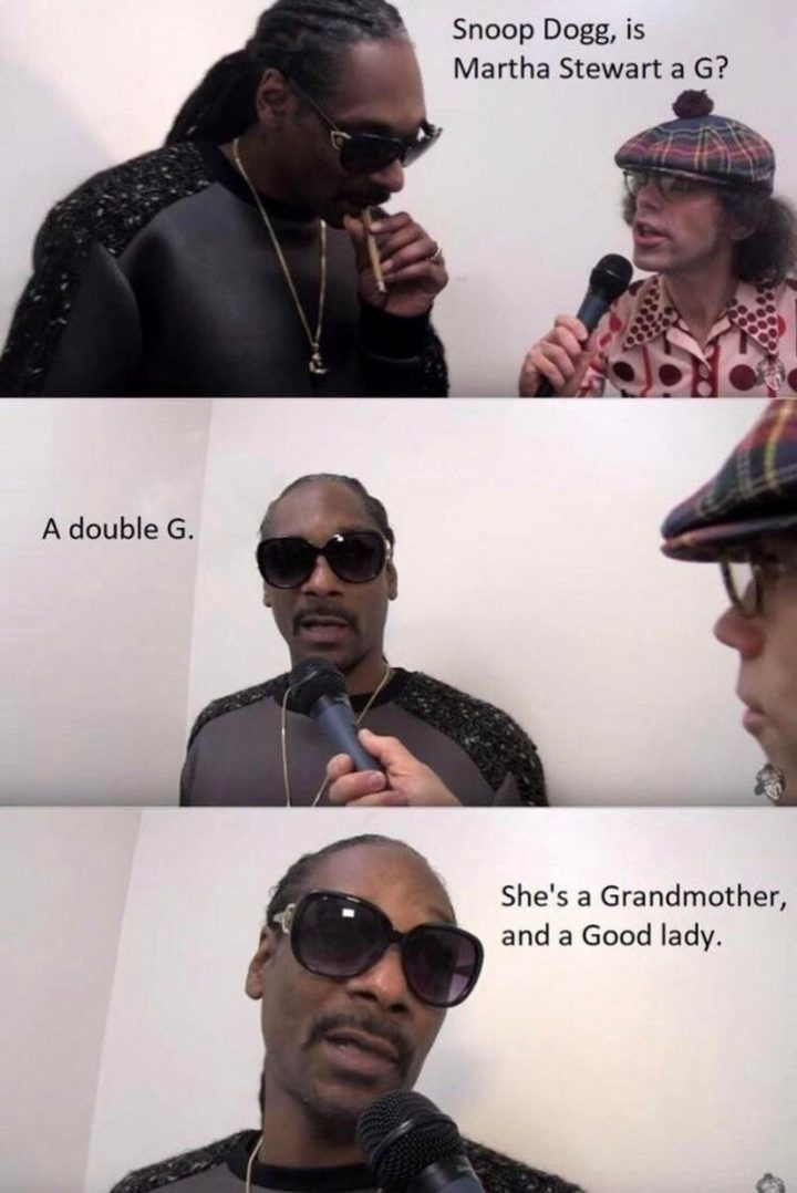 """53 Sad Memes - """"Snoop Dogg, is Martha Stewart a G? A double G. She's a grandmother and a good lady."""""""