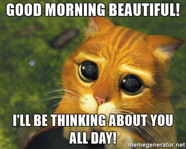 """77 """"Thinking of You"""" Memes - """"Good morning beautiful! I'll be thinking about you all day!"""""""