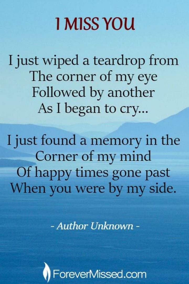 """77 """"Thinking of You"""" Memes - """"I miss you. I just wiped a teardrop from the corner of my eye followed by another as I began to cry...I just found a memory in the corner of my mind of happy times gone past when you were by my side."""" - Unknown"""