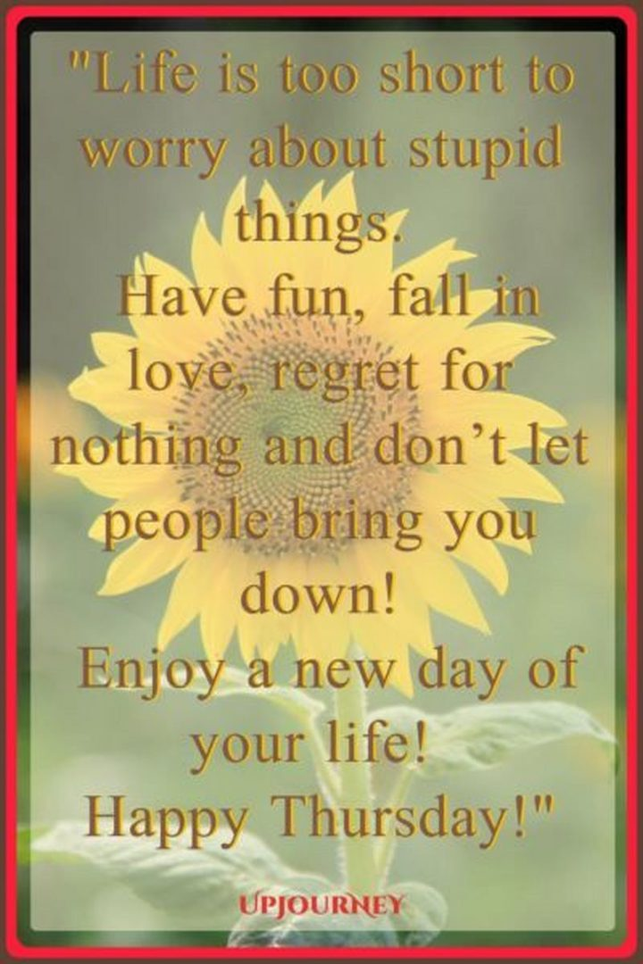 """""""Life is too short to worry about stupid things. Have fun, fall in love, regret nothing and don't let people bring you down! Enjoy a new day of your life! Happy Thursday!"""" - Unknown"""