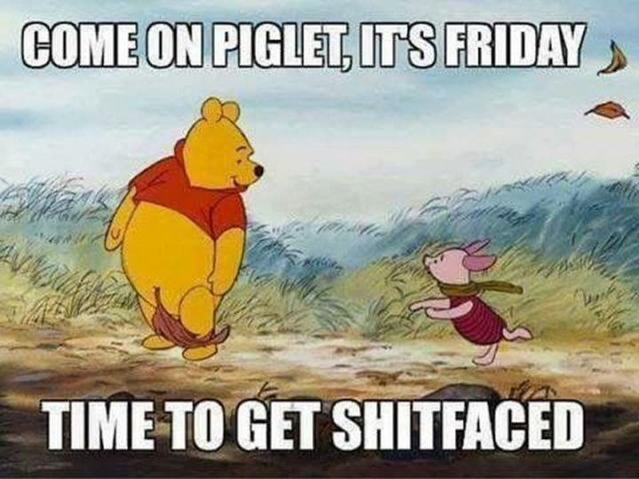 """55 """"Almost Friday"""" Memes - """"Come on Piglet, it's Friday. Time to get shitfaced."""""""