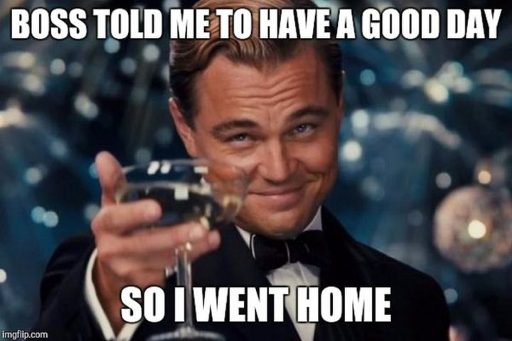 "101 ""Have a Great Day"" Memes - ""Boss told me to have a good day so I went home."""