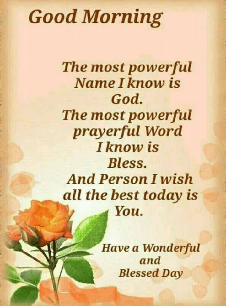 "101 ""Have a Great Day"" Memes - ""Good morning. The most powerful Name I know is God. The most powerful prayerful Word I know is Bless. And the Person I wish all the best today is You. Have a Wonderful and Blessed Day."""