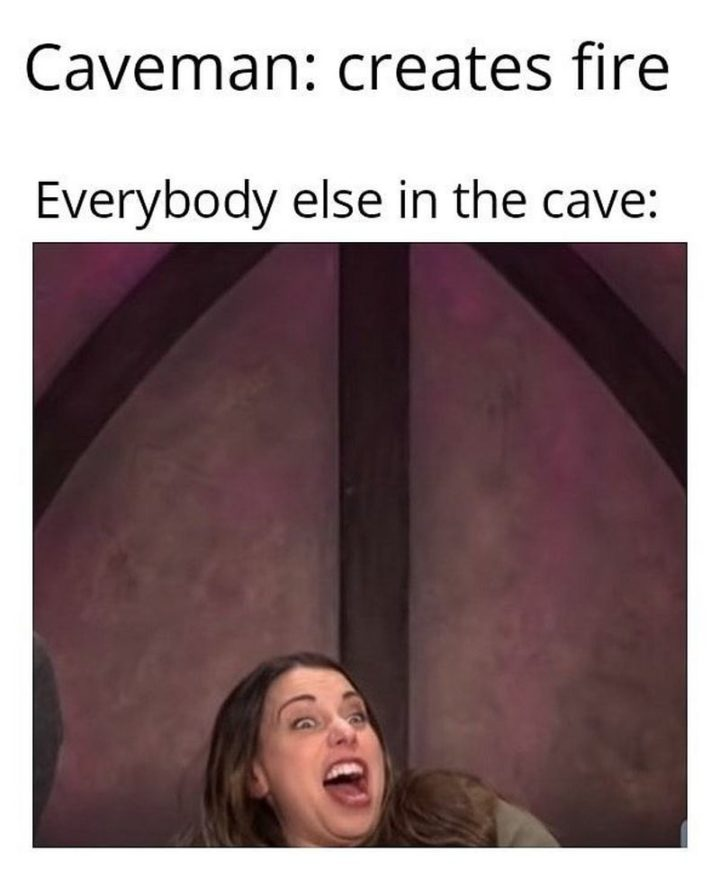 """55 Funny History Memes - """"Caveman: creates fire. Everybody else in the cave:"""""""