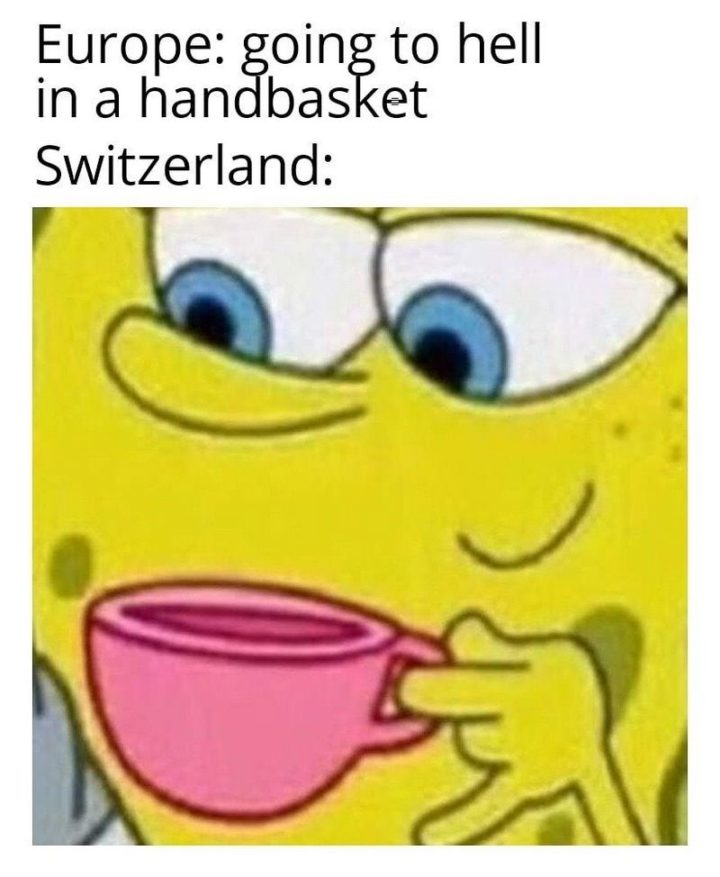 """55 Funny History Memes - """"Europe: Going to hell in a handbasket. Switzerland:"""""""