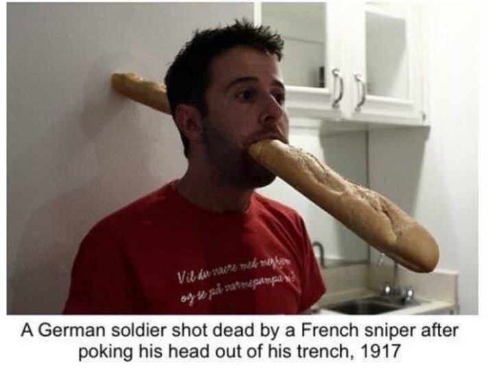 """55 Funny History Memes - """"A German soldier shot dead by a French sniper after poking his head out of his trench, 1917."""""""