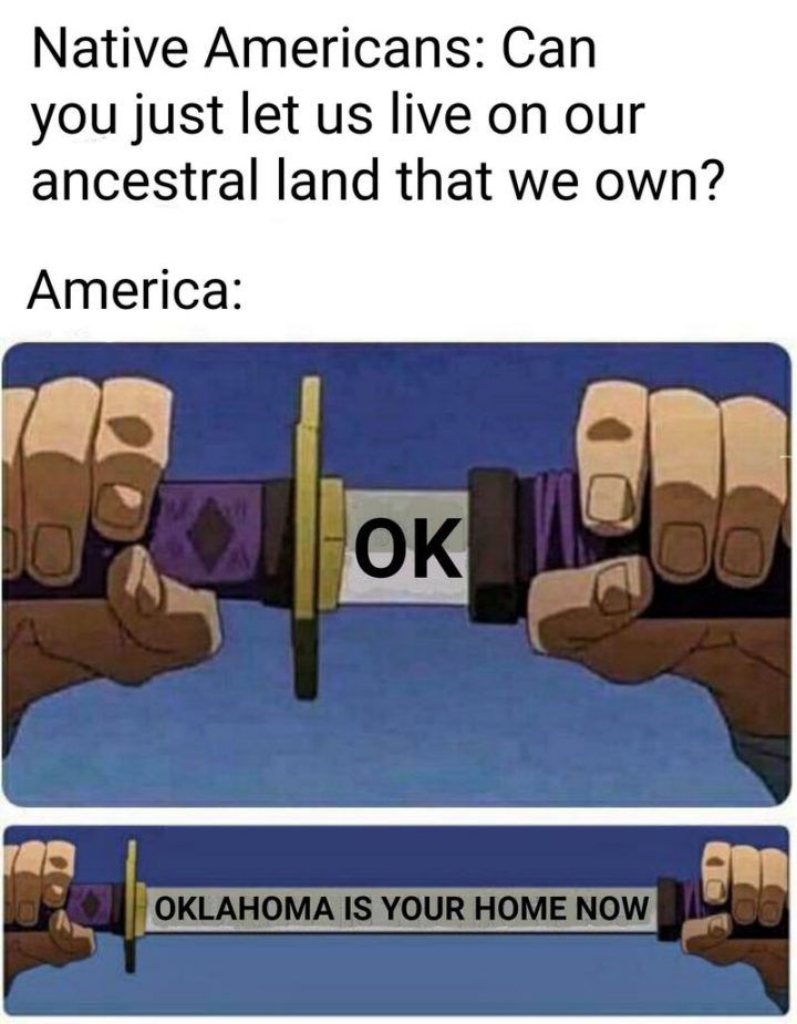 """55 Funny History Memes - """"Native Americans: Can you just let us live on the ancestral land that we own? America: OK. Oklahoma is your home now."""""""