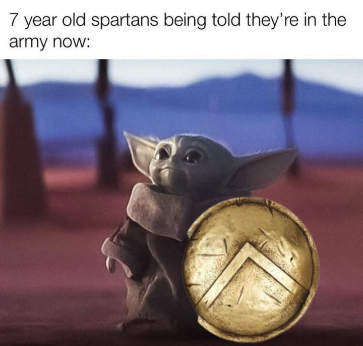 """""""7-year-old Spartans being told they're in the army now:"""""""