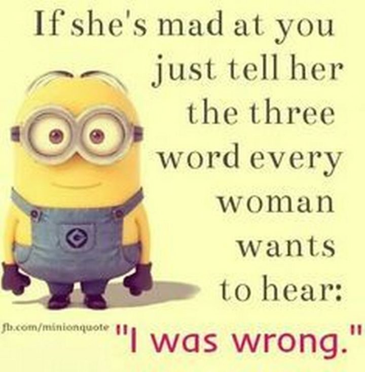 """""""If she's mad at you just tell her the three words every woman wants to hear: 'I was wrong'."""""""