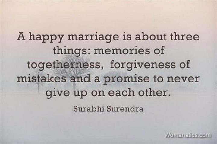 """""""A happy marriage is about three things: Memories of togetherness, the forgiveness of mistakes, and a promise to never give up on each other."""" - Unknown"""