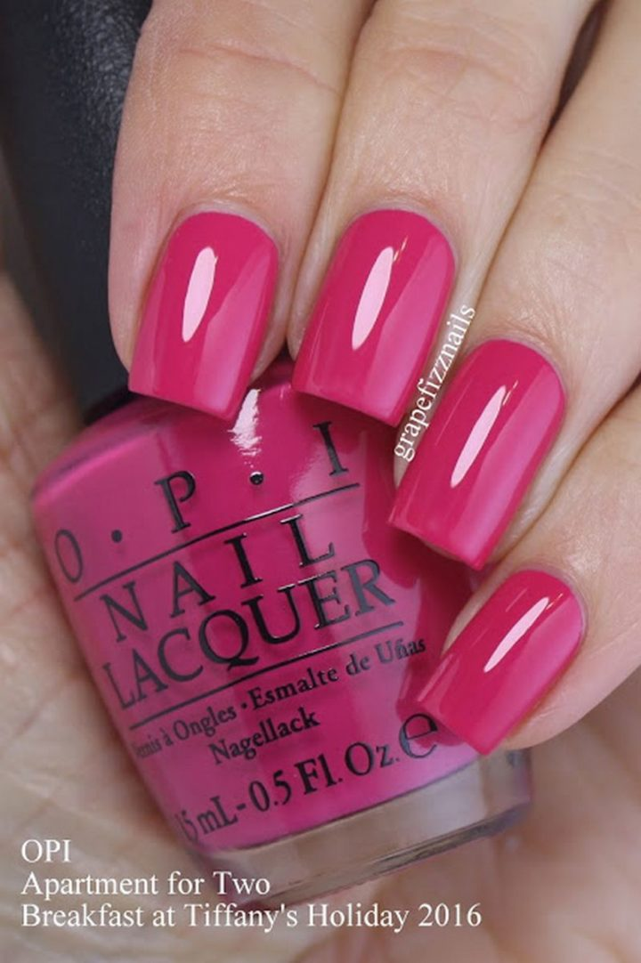 A beautiful pink manicure that looks great at any time of the year.
