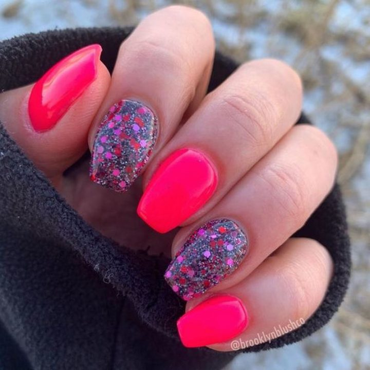 Hot pink nails with cherry bombs!