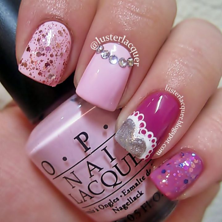 Say Happy Valentine's Day with a soft pink manicure.