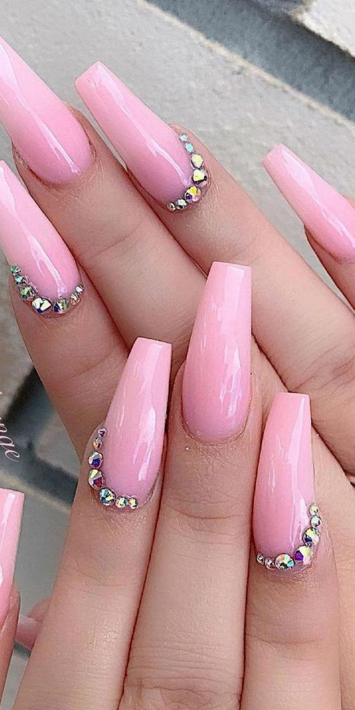 Pink spring nails with a hint of bling.