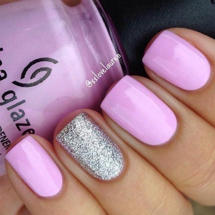 Looking pretty in pink with a silver glitter accent.