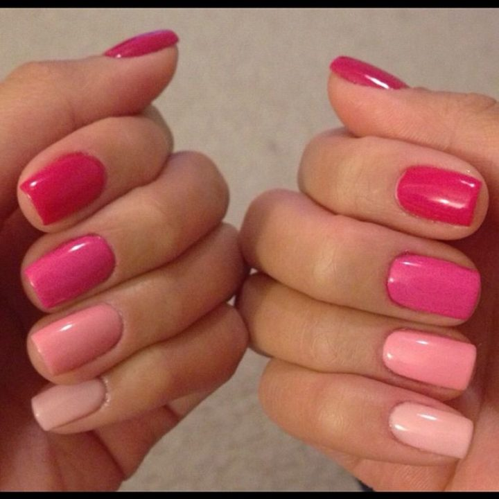 Having fun with a pink ombré manicure.