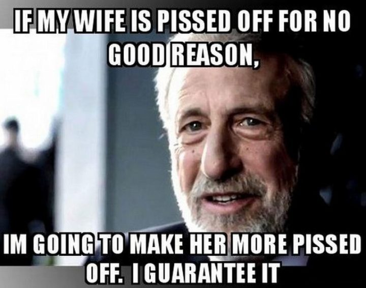 """""""If my wife is pissed off for no good reason, I'm going to make her more pissed off. I guarantee it."""""""