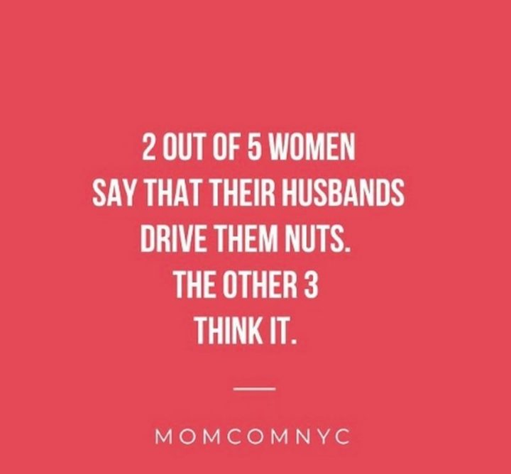 """""""2 out of 5 women say their husbands drive them nuts. The other 3 think it."""""""