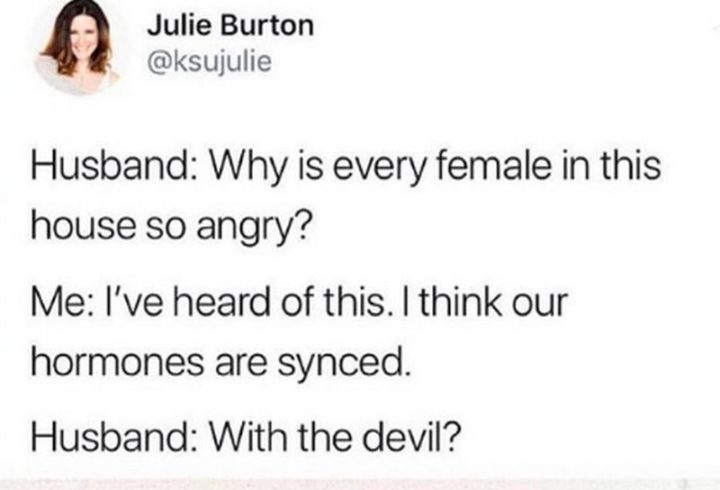 """""""Husband: Why is every female in this house so angry? Me: I've heard of this. I think our hormones are synced. Husband: With the devil?"""""""