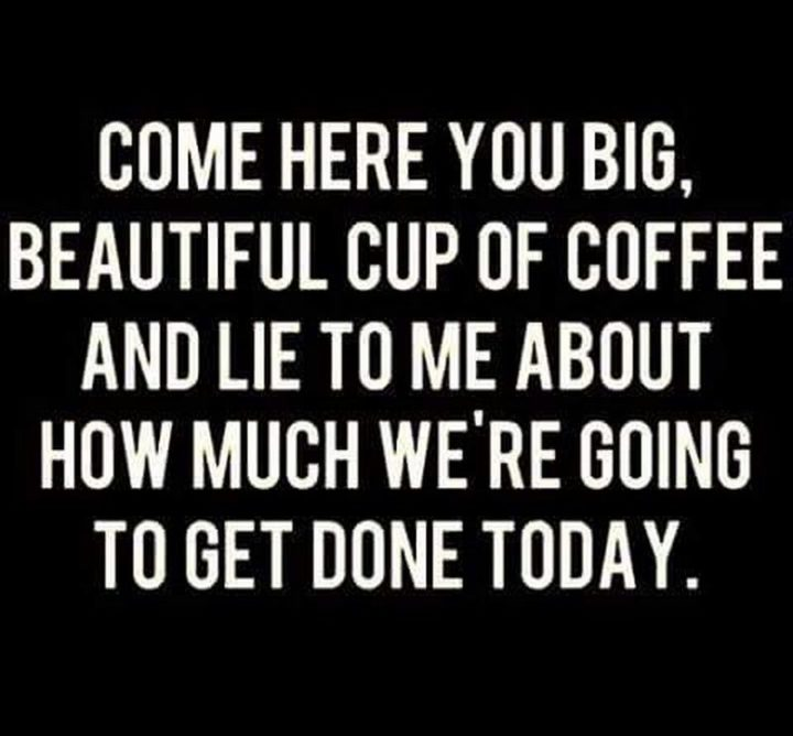 """""""Come here you big, beautiful cup of coffee, and lie to me about how much we're going to get done today."""""""