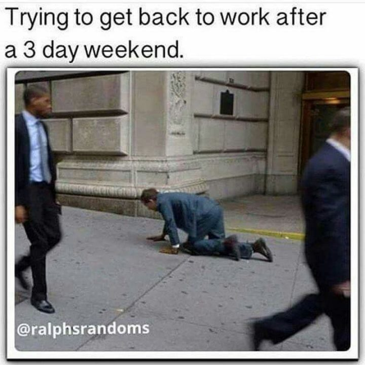 """""""Trying to get back to work after a 3 day weekend."""""""