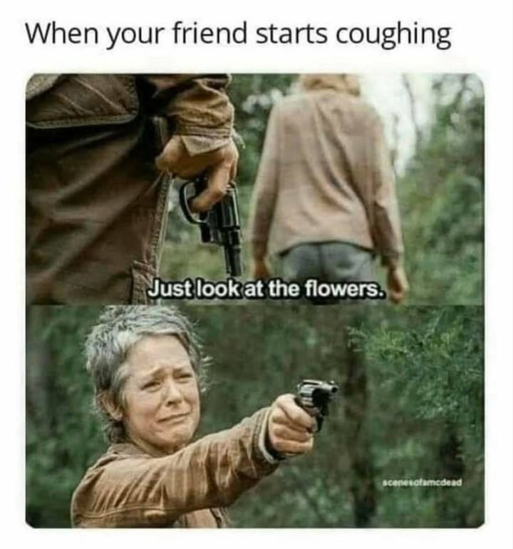 """67 Hypochondriac Memes - """"When your friend starts coughing: Just look at the flowers."""""""