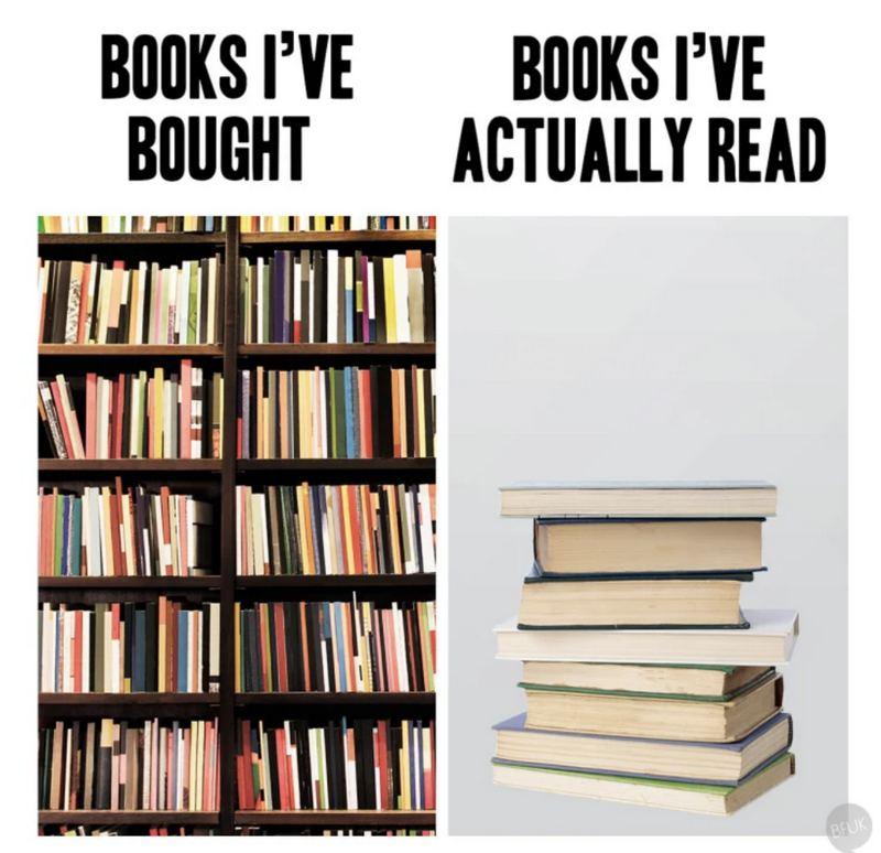 """Books I've bought VS Books I've actually read."""