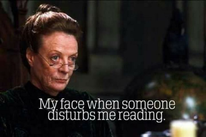"""""""My face when someone disturbs me reading."""""""