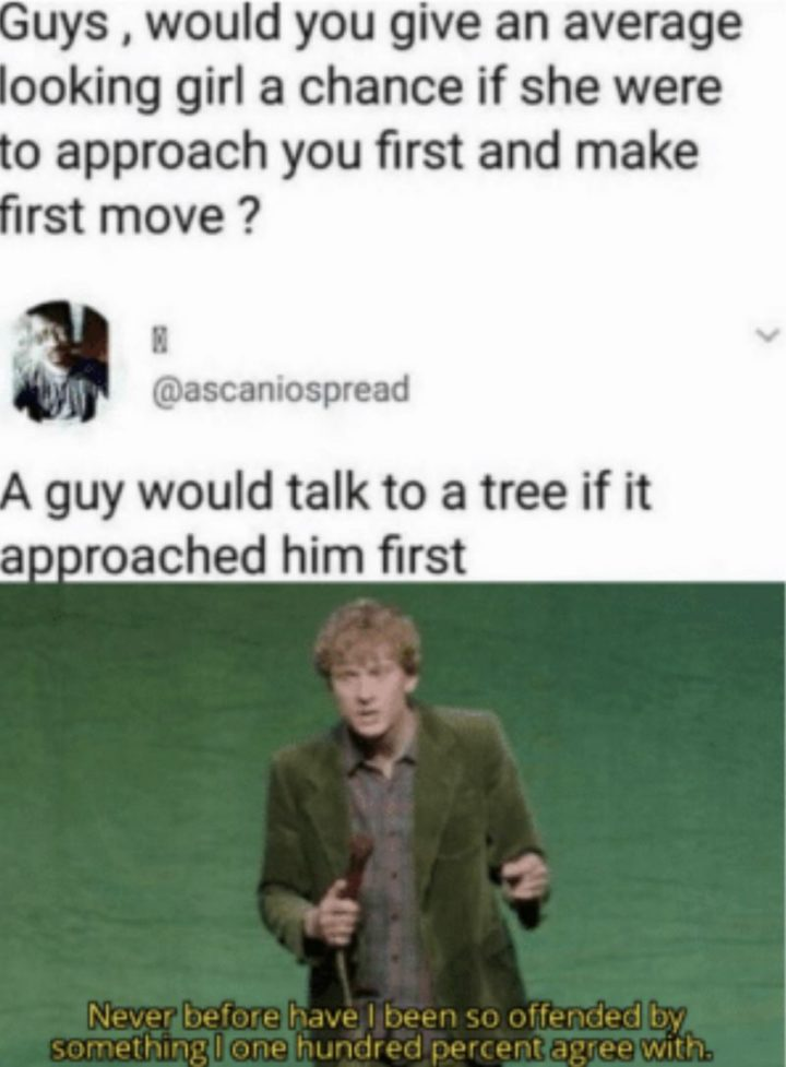 """""""Guys, would you give an average looking girl a chance if she were to approach you first and make the first move? A guy would talk to a tree if it approached him first. Never before have I been so offended by something I one hundred percent agree with."""""""