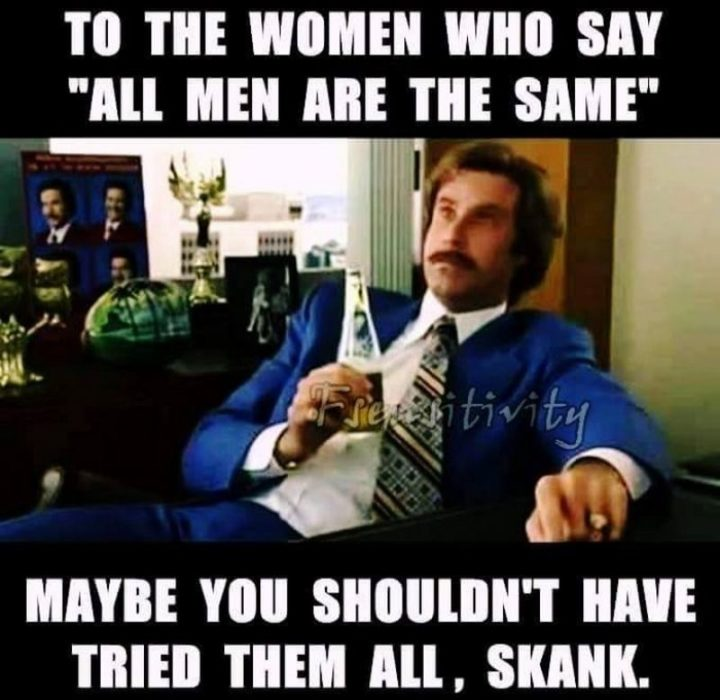"""""""To the women who say, 'All men are the same,' maybe you shouldn't have tried them all, skank."""""""
