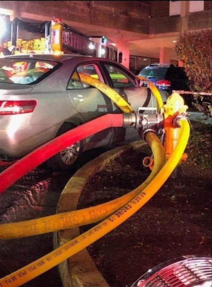 """""""This is a prime example of why you don't park in front of a hydrant."""""""