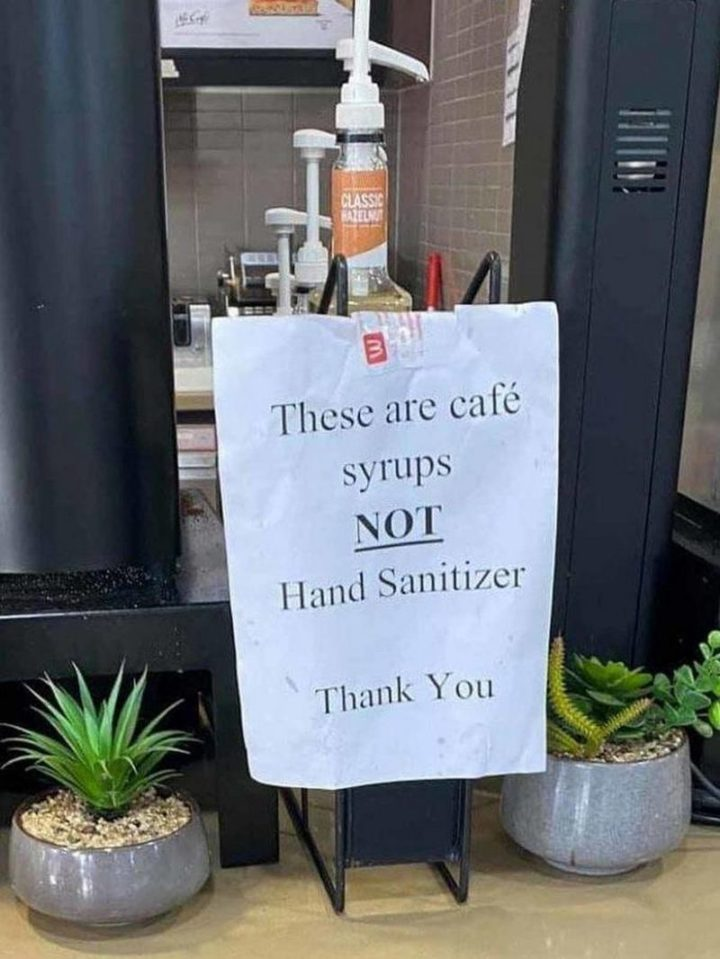 """""""These are cafe syrups and NOT hand sanitizer. Thank you."""""""